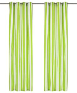 vidaXL gardiner med metalringe 2 stk. 140 x 225 cm stof stribet grøn