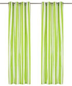 vidaXL gardiner med metalringe 2 stk. 140 x 245 cm stof striber grøn