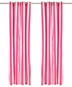 vidaXL gardiner med metalringe 2 stk. 140 x 175 cm stof striber pink