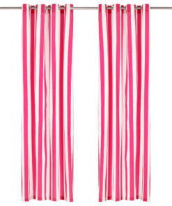 vidaXL gardiner med metalringe 2 stk. 140 x 245 cm stof striber pink
