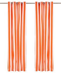 vidaXL gardiner med metalringe 2 stk. 140 x 175 cm stof striber orange