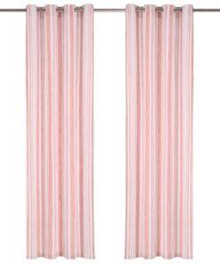 vidaXL gardiner med metalringe 2 stk. 140 x 175 cm bomuld striber pink