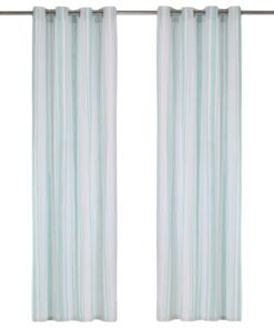 vidaXL gardiner med metalringe 2 stk. 140 x 225 cm bomuld striber blå