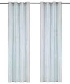 vidaXL gardiner med metalringe 2 stk. 140 x 245 cm bomuld striber blå