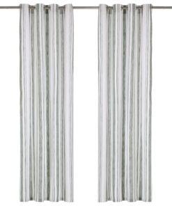 vidaXL gardiner med metalringe 2 stk. 140 x 225 cm bomuld striber grøn