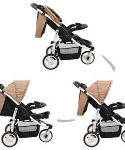 vidaXL klapvogn med 3 hjul gråbrun og sort