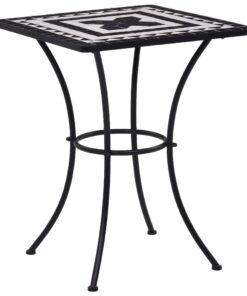 vidaXL bistrobord med mosaikdesign 60 cm keramisk sort og hvid