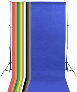 vidaXL fotostudieudstyr med 13 fotobaggrunde 1,6 x 5 m stål sort