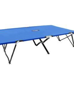 vidaXL 2-personers foldbar solseng stål blå