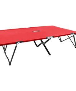 vidaXL 2-personers foldbar solseng stål rød
