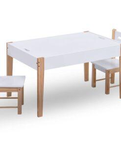 vidaXL bord- og stolesæt til børn m. tavle 3 dele sort og hvid