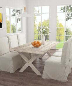 vidaXL spisebord 200x100x75 cm massivt teaktræ