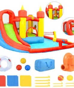 Happy Hop oppustelig hoppeborg rutsjebane og bassin 410x385x220 cm PVC