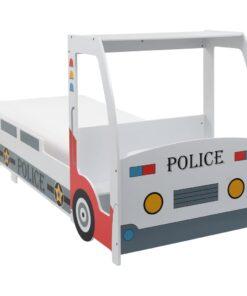 vidaXL børneseng politibil madras i memoryskum 90 x 200 cm
