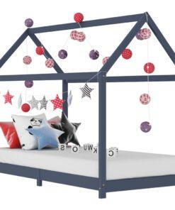 vidaXL sengestel til børneseng 80 x 160 cm massivt fyrretræ grå