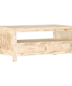 vidaXL sofabord 90 x 50 x 40 cm massivt mangotræ hvid
