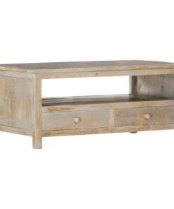 vidaXL sofabord 90 x 50 x 40 cm massivt mangotræ grå