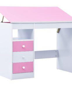 vidaXL børneskrivebord vippebart lyserød og hvid