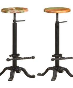 vidaXL barstole 2 stk. støbejern og massivt genbrugstræ