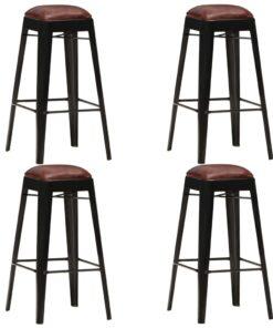 vidaXL barstole 4 stk. ægte læder sort