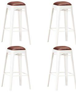 vidaXL barstole 4 stk. ægte læder hvid