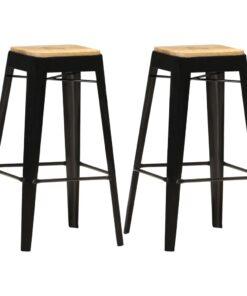 vidaXL barstole 2 stk. massivt mangotræ sort