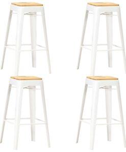vidaXL barstole 4 stk. massivt mangotræ hvid