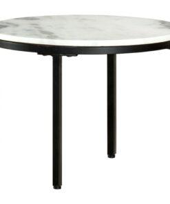 vidaXL sofabord Ø 50 cm ægte massivt marmor hvid og sort