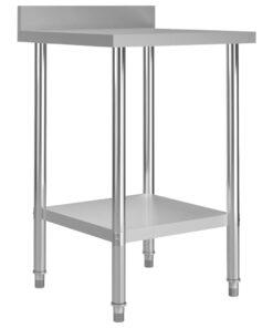 vidaXL arbejdsbord til køkken m. stænkplade 60x60x93 cm rustfrit stål