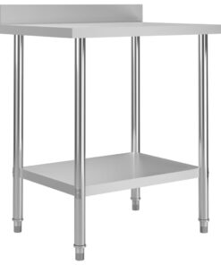 vidaXL arbejdsbord til køkken m. stænkplade 80x60x93 cm rustfrit stål