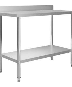 vidaXL arbejdsbord til køkken m. stænkplade 120x60x93 cm rustfrit stål