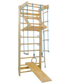 vidaXL indendørs klatrestativ med stiger ringe og rutsjebane træ