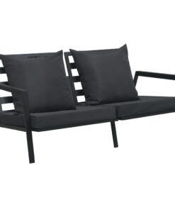 vidaXL 2-personers havesofa med hynder aluminium mørkegrå