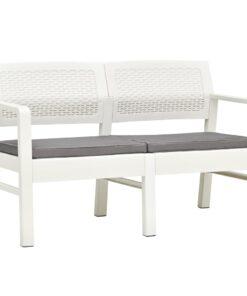 vidaXL 2-personers havebænk med hynder 120 cm plastik hvid