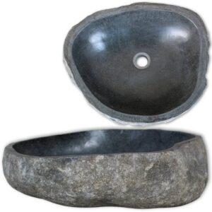 vidaXL håndvask flodsten oval 30-37 cm