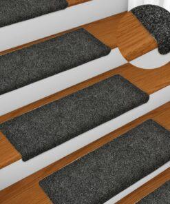 vidaXL 15 stk. trappemåtter tuftet 65×25 cm grå