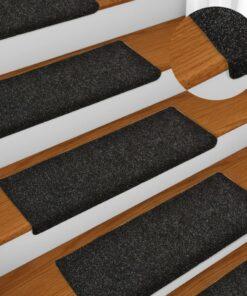 vidaXL 15 stk. trappemåtter tuftet 65×25 cm sort