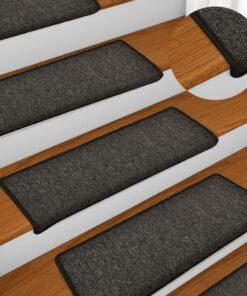 vidaXL 15 stk. trappemåtter 65×25 cm antracitgrå