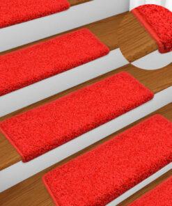 vidaXL 15 stk. trappemåtter 65×25 cm rød