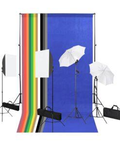 vidaXL fotostudieudstyr med bagtæppe, softbox-lamper og paraply