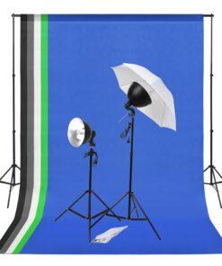 vidaXL fotostudieudstyr med lampesæt og bagtæpper