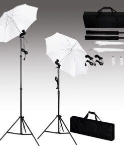 vdaXL fotostudieudstyr med bagtæppe, lamper og paraplyer