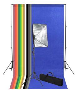 vidaXL fototstudieudstyr med bagtæppe og softboxbelysning