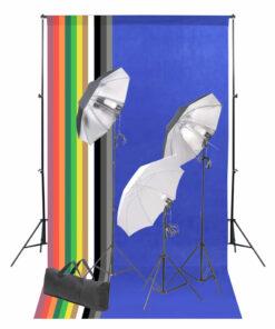 vidaXL fotostudiesæt med bagtæppe og belysningssæt