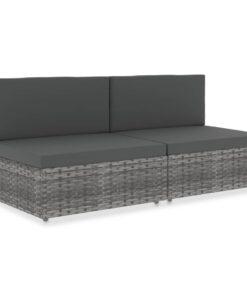 vidaXL 2-personers sofa modulær polyrattan grå