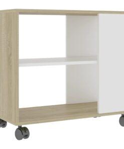 vidaXL sidebord 70x35x55 cm spånplade hvid og sonoma-eg
