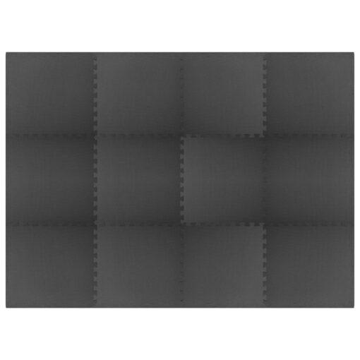 vidaXL træningsmåtter puslespilskant 12 stk. 4,32 ㎡ EVA-skum sort