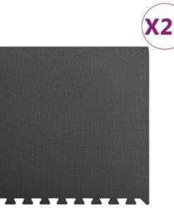 vidaXL træningsmåtter puslespilskant 24 stk. 8,64 ㎡EVA-skum sort