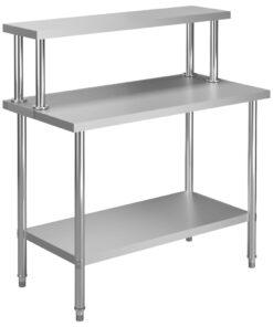 vidaXL arbejdsbord til køkken med tophylde 120x60x120 cm rustfrit stål