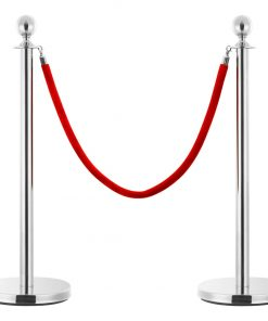 vidaXL reb til afspærringsstolper fløjl rød og sølvfarvet